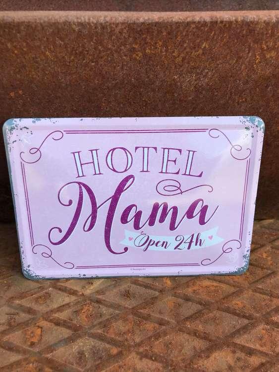 Plåtvykort Hotel Mama.