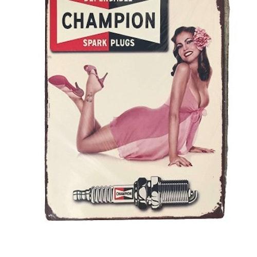 "Plåtskylt 40x30cm ""Champion"""