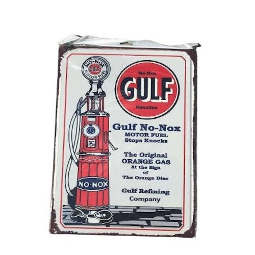 """Plåtskylt 40x30cm """"Gulf No-Nox"""""""