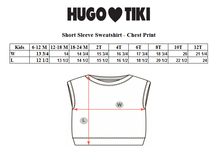 Hugo Loves Tiki - Short Sleeve Sweatshirt Canguro Chest
