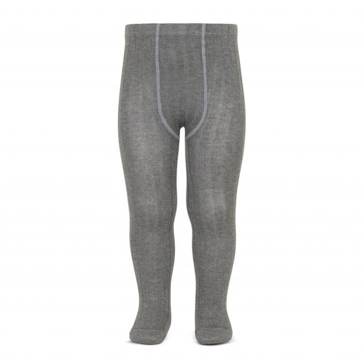 CÓNDOR - Wide Rib Basic Tights Light Grey