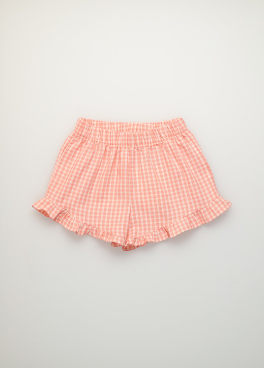 The New Society Rachel Short Soft Woven Coral Check