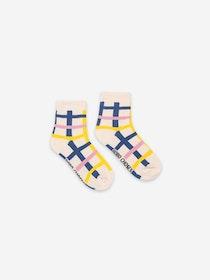 Bobo Choses Blue Checkered Short Socks