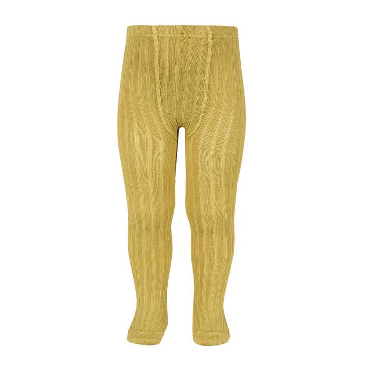 CÓNDOR - Wide Rib Basic Tights Mustard