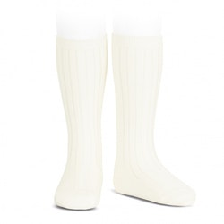CÓNDOR - Wide Rib Basic Knee Socks Beige