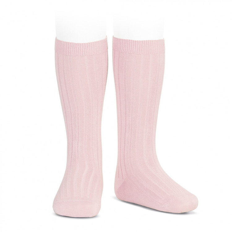 CÓNDOR - Wide Rib Basic Knee Socks Pink
