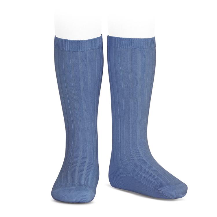 CÓNDOR - Wide Rib Basic Knee Socks Bluish