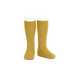 CÓNDOR - Wide Rib Basic Knee Socks Mustard