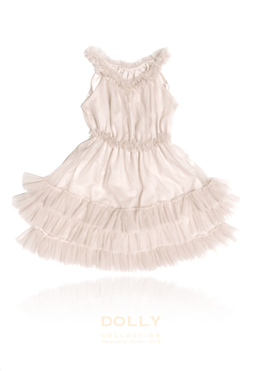Dolly By Le Petit Tom Ruffled Chiffon Dance Dress Klänning Off-White