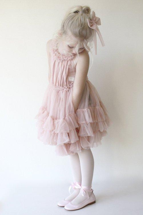Dolly By Le Petit Tom Ruffled Chiffon Dance Dress Klänning Pink
