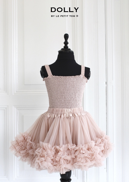 Dolly By Le Petit Tom Frilly Top Linne Ballet Pink