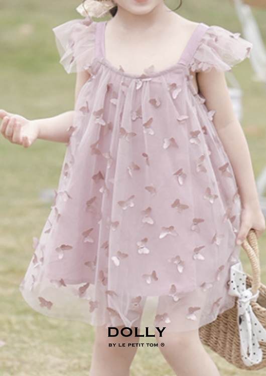 Dolly By Le Petit Tom Allover Butterflies Tutu Dress Klänning Pink