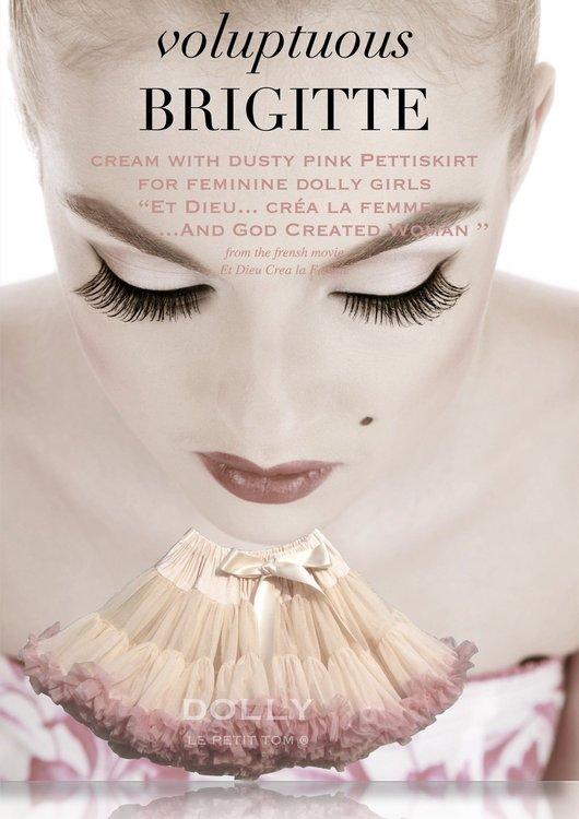 Dolly By Le Petit Tom Brigitte Bardot Pettiskirt Kjol Cream Dusty Pink