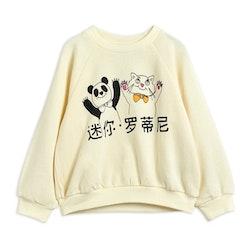 Mini Rodini Cat And Panda Sweatshirt Offwhite
