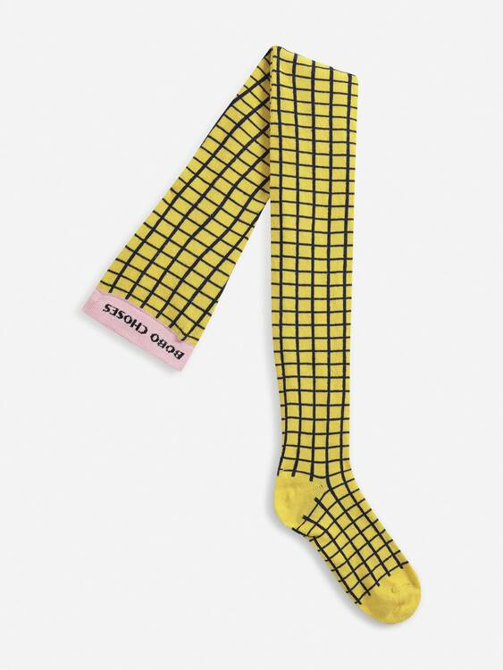 Bobo Choses Checkered yellow tights cadmium yellow