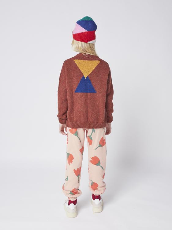 Bobo Choses Geometric knitted cardigan kids tandoori spice