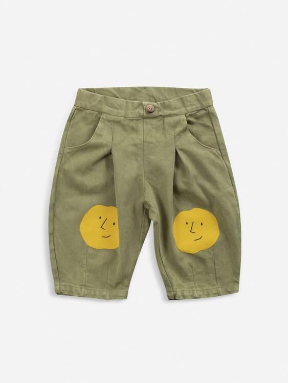 Bobo Choses Faces woven pants dark green