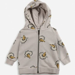 Bobo Choses Birdie all over zipped hoodie rainy day