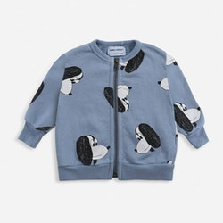 Bobo Choses Doggie all over zipped sweatshirt forever blue