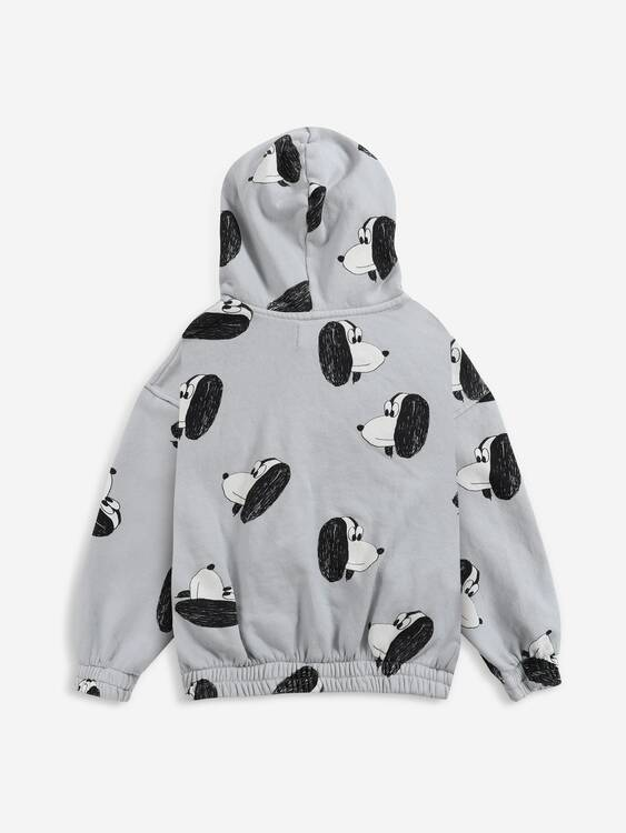Bobo Choses Doggie all over zipped hoodie gray violet