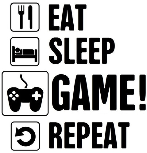 Väggdekor - EAT SLEEP GAME REPEAT #1