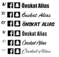 Dekal - Facebook & Snapchat alias | 3 cm hög