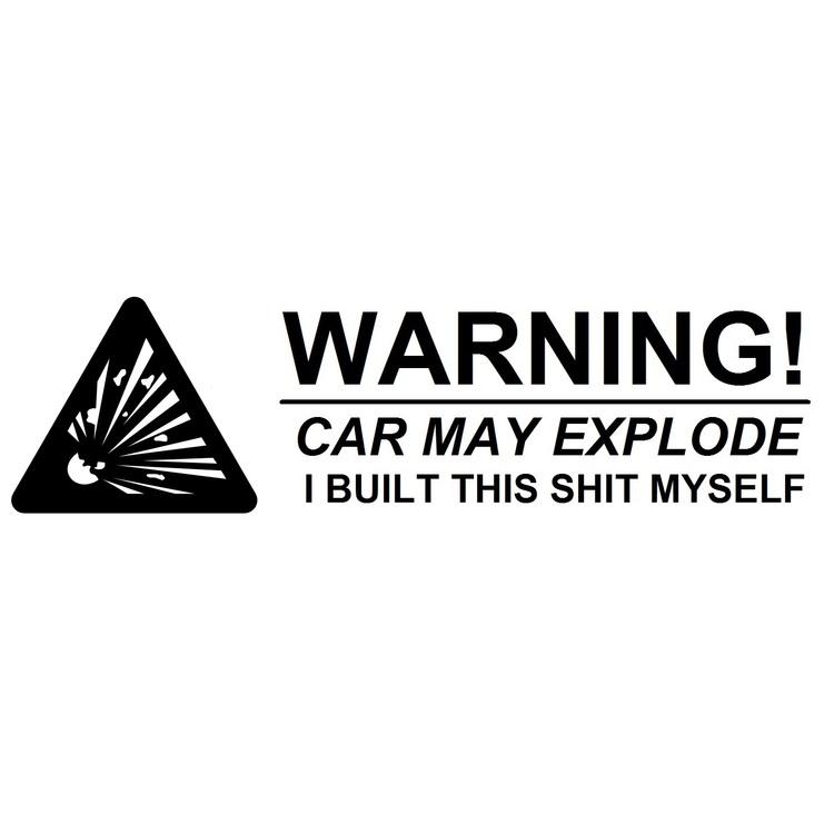 Dekal - Warning! Car may explode