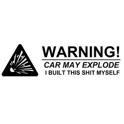 Dekal - Warning! Car may explode