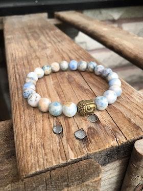 Armband – Ljusblå agat & buddha