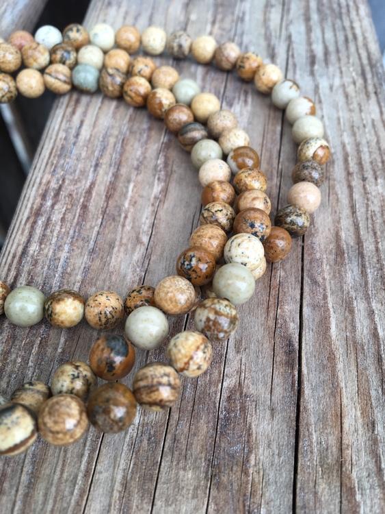 Långt halsband/mala – Jaspis, brun