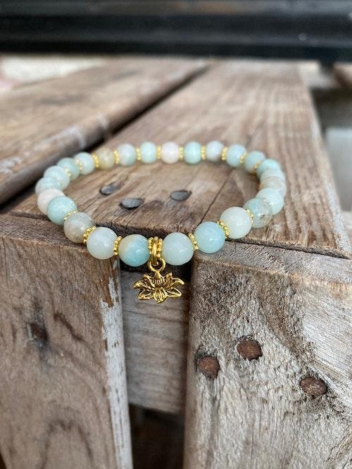 Armband – Amazonit & lotus