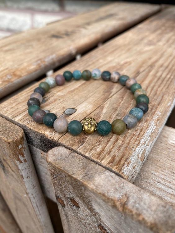 Armband – Indisk agat & buddha