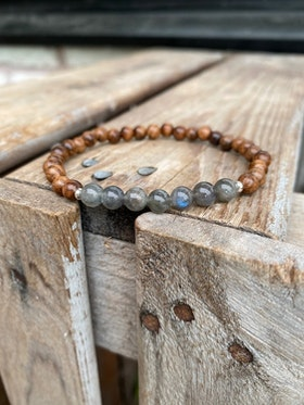 Armband – Rosenträ & labradorit