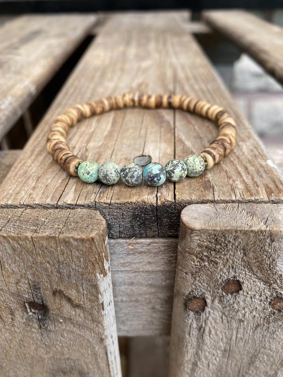 Armband – Kokos & afrikansk turkos