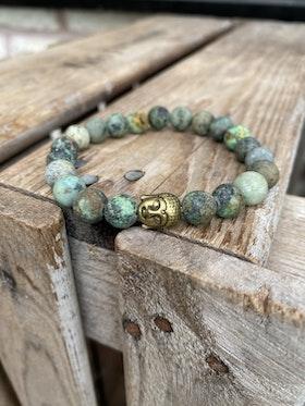 Armband – Afrikansk turkos & buddha