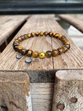 Armband – Tigeröga & guldpärla