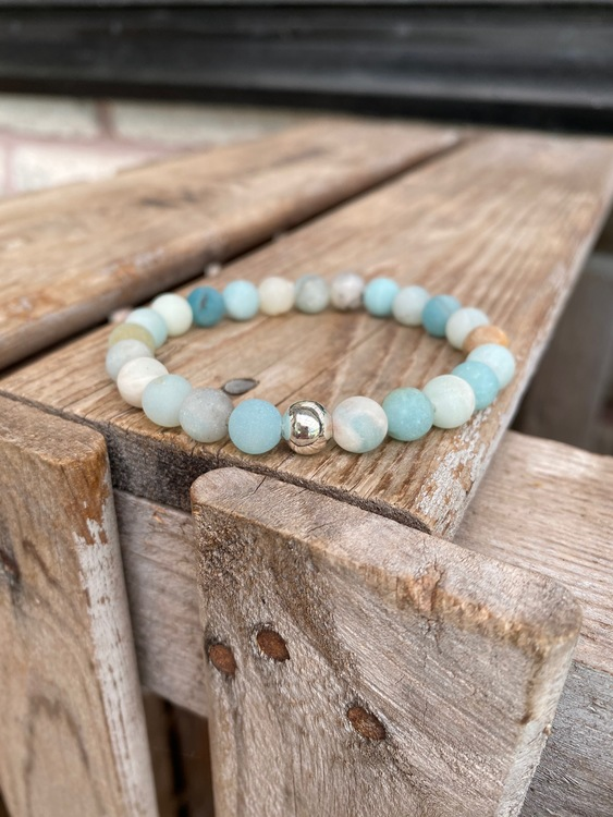 Armband – Amazonit & silverpärla