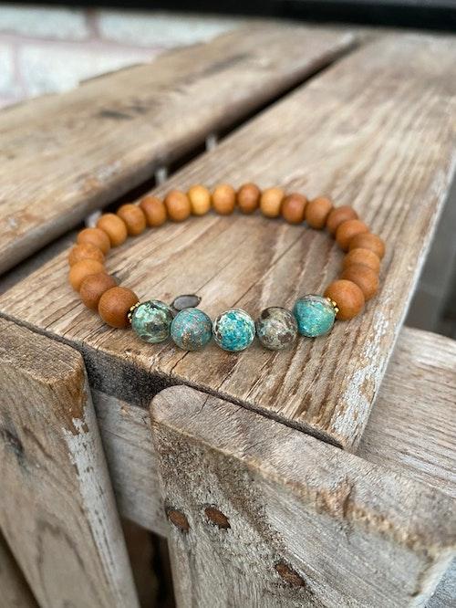 Armband – Havsagat & sandelträ