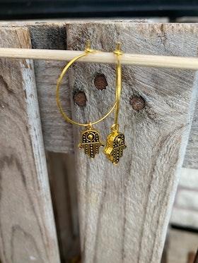 Örhängen – Hamsa mini, guld