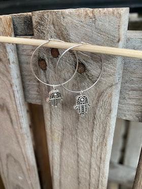 Örhängen – Hamsa mini, silver