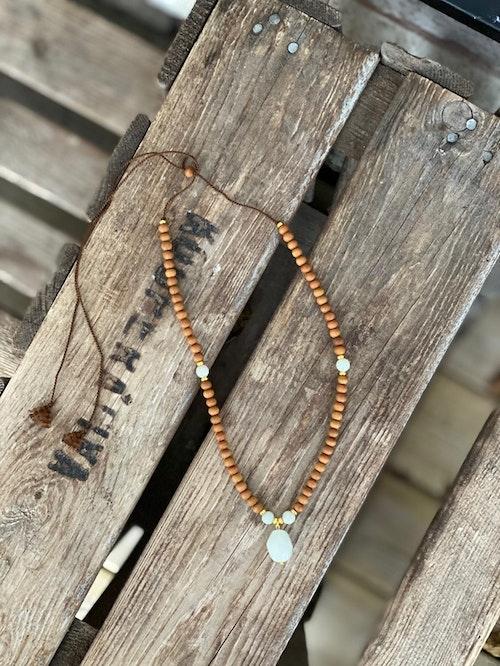 Justerbart halsband/armband – Sandelträ & akvamarin