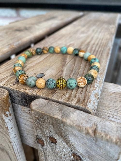 Armband – Afrikansk turkos & jaspis