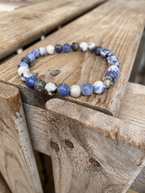 Armband – Sodalit & silverpärla