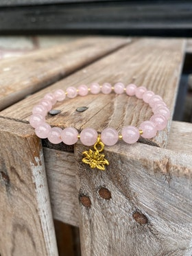Armband – Rosenkvarts & lotus