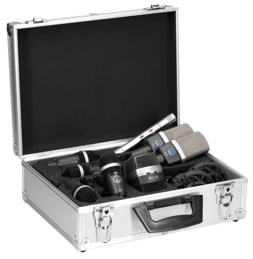 AKG Drumset Premium, 1x D12VR, 2x C214, 1x C451, 4x D40 + K&M klämma