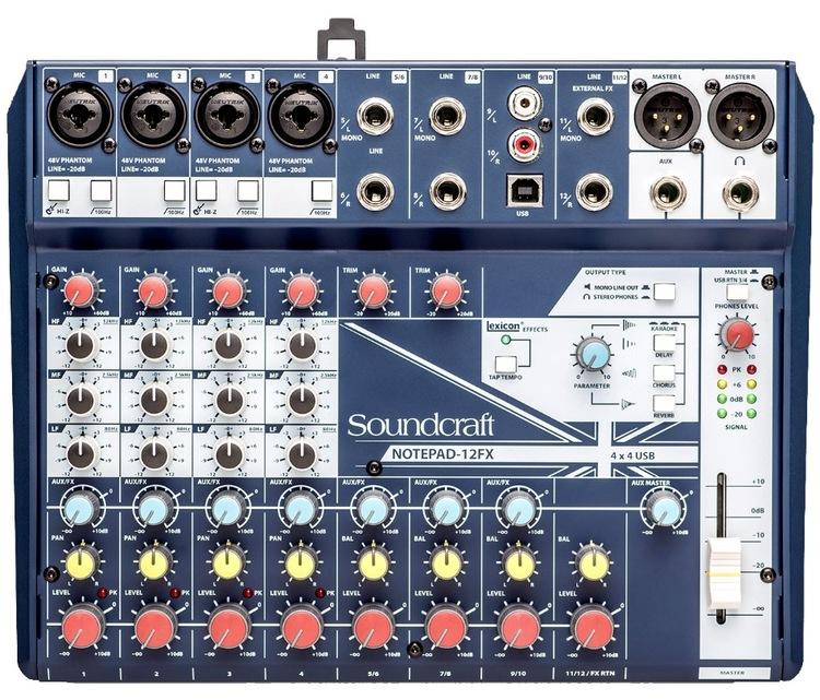 Soundcraft Notepad 12FX, mixer med inbyggd FX, USB NYHET