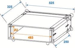 Rackcase 2HE Trä Effekt/Grund 24 cm
