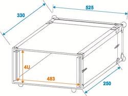 Rackcase 4HE Trä Effekt/Grund 24 cm