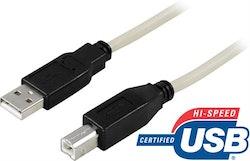 Deltaco USB 2.0 kabel Typ A hane - Typ B hane 3m