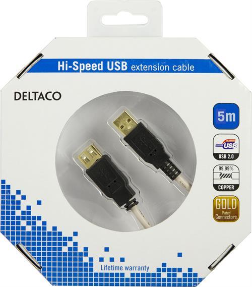 Deltaco USB 2.0 kabel Typ A ha - Typ A ho 5m